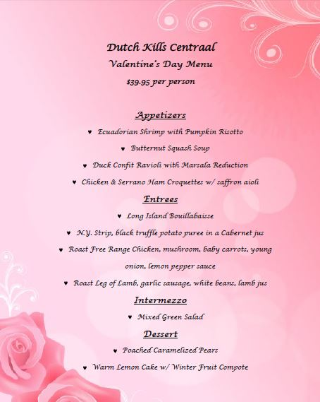 Valentines day menu 2015